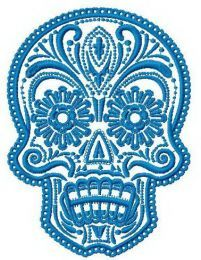 Painted scull machine embroidery design