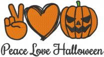 Peace love halloween embroidery design