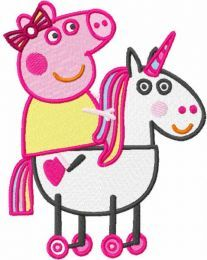 Peppa riding horse embroidery design