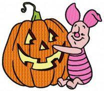 Piglet with pumpkin machine embroidery design