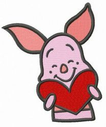 Piglet with Valentine card embroidery design