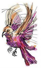 Pink firebird embroidery design