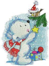 Polar bear decorates New Year tree