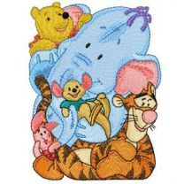 Winnie Pooh, Tigger, Heffalump, Roo and Piglet embroidery design