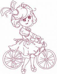 Princess Malvina one colored embroidery design