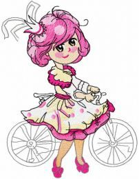 Malvina princess with bike embroidery design