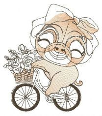 Pug-dog cycling embroidery design