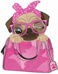 Pug dog of my purse embroidery design