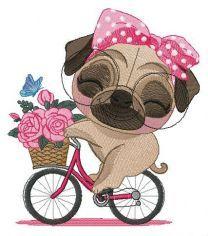 Pug-dog riding bike embroidery design