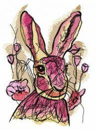 Rabbit among tulips embroidery design