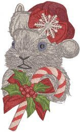 Rabbit with candy cane embroidery design