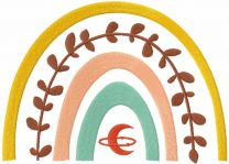 Boho rainbow moon embroidery design