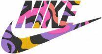 Rainbow nike logo embroidery design