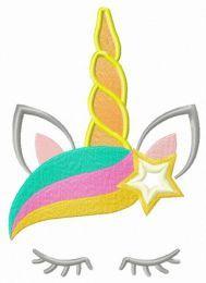 Rainbow star unicorn embroidery design
