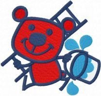 Red bear painter embroidery design