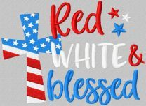 Red white blessed embroidery design
