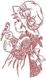 Retro girl playing with bird embroidery design