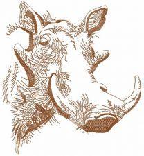 Rhino sketch embroidery design 3