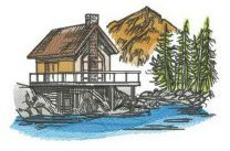 River house embroidery design
