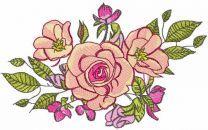 Roses bouquet decor embroidery design