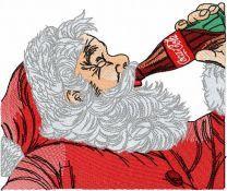 Santa Claus drink coca cola embroidery design