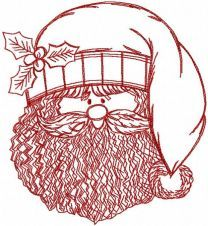 Santa Claus redwork embroidery design