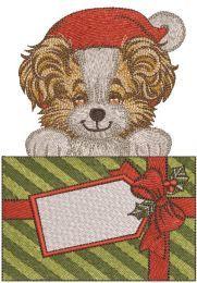 Santa dog with Christmas gift embroidery design