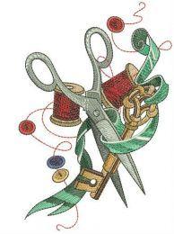 Scissors, ribbon, key and threads