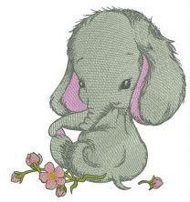 Shy elephant girl embroidery design