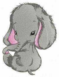 Shy elephant embroidery design