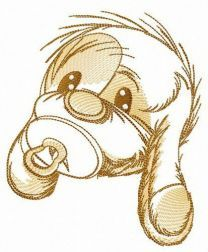 Shy puppy embroidery design