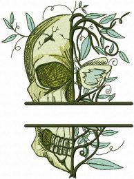 Skull Always Spring monogram embroidery design