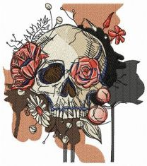 Skull overgrown with flowers
