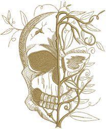 Skull spring embroidery design