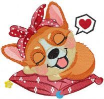 Sleeping dreaming corgi embroidery design