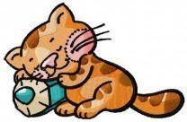 Sleeping kitten machine embroidery design