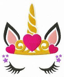 Sleeping unicorn princess embroidery design