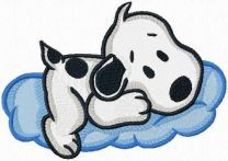 Snoopy on a cloud machine embroidery design