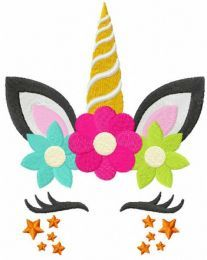 Summer star unicorn embroidery design