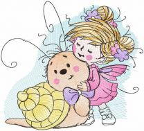 Tattered Fairy and snail embroidery design