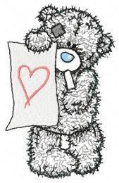 Teddy bear painter applique embroidery design