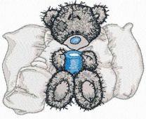 Teddy bear is sick embroidery design