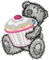Teddy Bear with big cupcake embroidery design