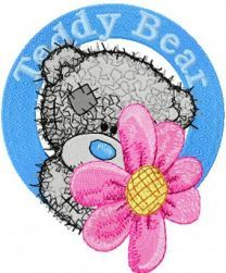 Teddy Bear with flower badge embroidery design