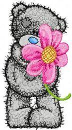 Teddy Bear likes flowers machine embroidery design