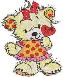 Teddy bear with heart lollipop embroidery design