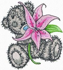 Teddy Bear with lily embroidery design