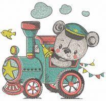 Teddy train driver embroidery design