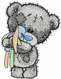 Tiny Teddy bear with toy embroidery design