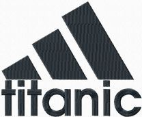 Titanic Adidas logo machine embroidery design